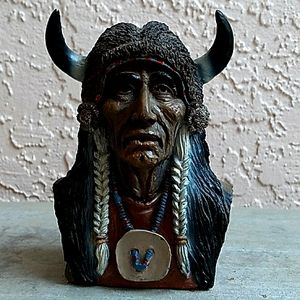 INDIAN CHIEF BULL HORN BUST HEAD + HORN HEAD HAT ATTACHED